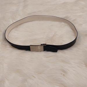 Nike SG Black Reversible Silver-Tone Plaque Belt